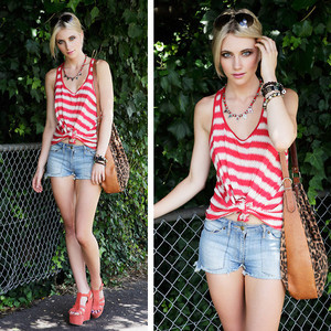light-denim-shorts-red-and-white-stripe-top-and-red-wedge-sandals-outfit